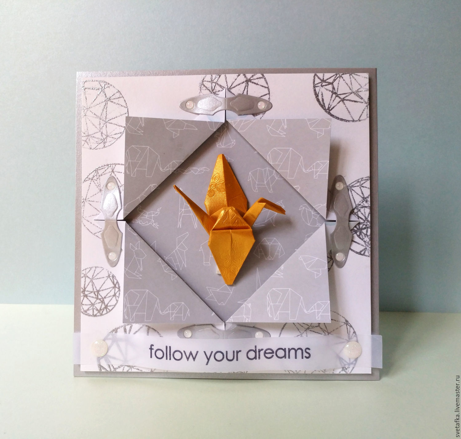 !The handmade card, ORIGAMI, Follow your dreams, Cards, Mytishchi,  Фото №1