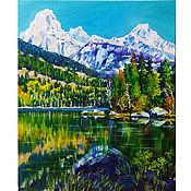 Картины и панно handmade. Livemaster - original item Painting landscape with mountains