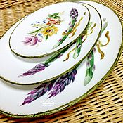 Посуда handmade. Livemaster - original item The painted porcelain.Plates 3 PCs.