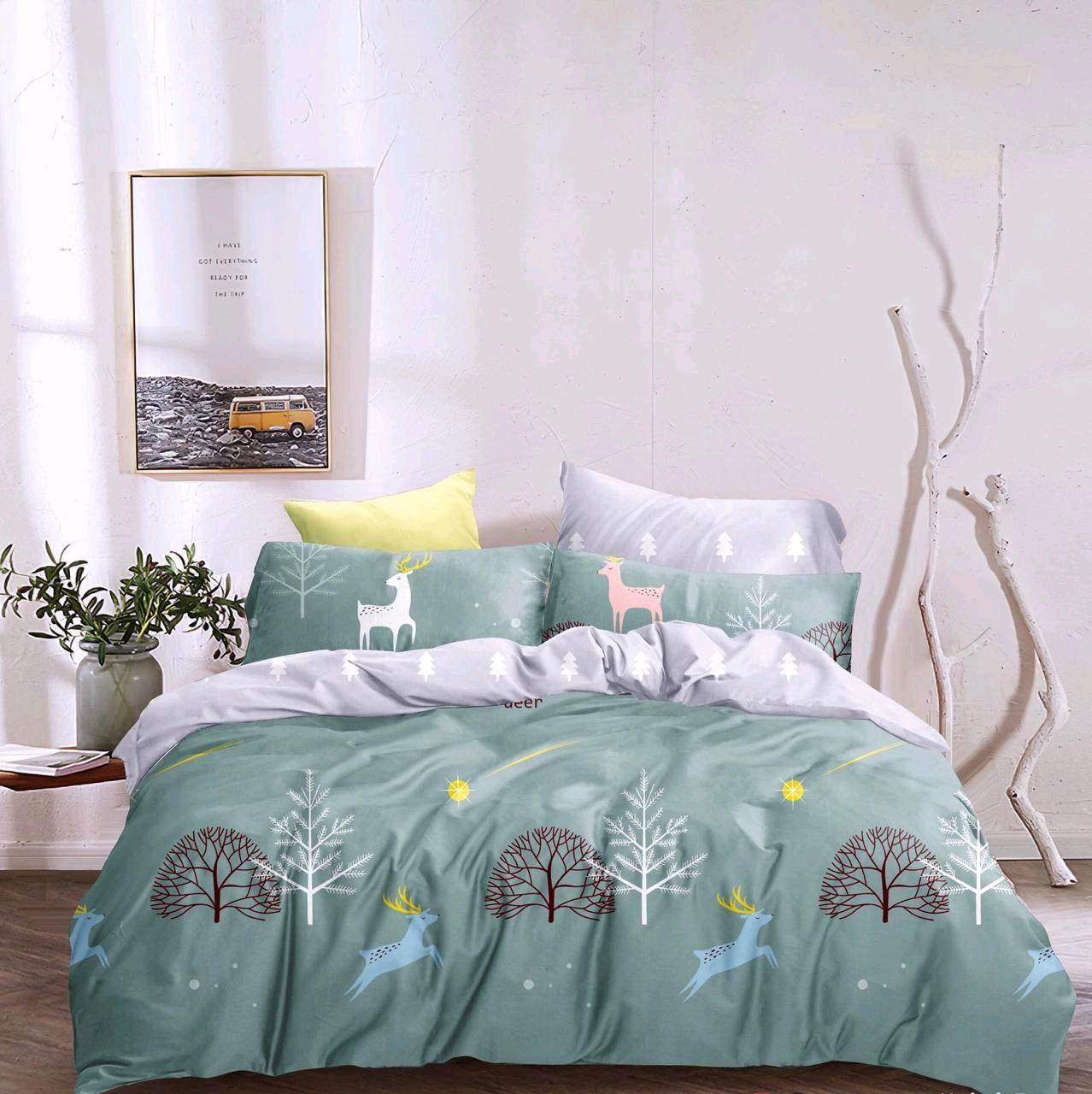 Новогоднее постельное белье с оленями из сатин. Постельное бельё сатин, Комплекты постельного белья, Тольятти,  Фото №1