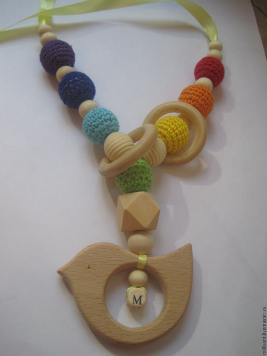 Детская бижутерия ручной работы. Ярмарка Мастеров - ручная работа. Купить Радуга и птичка на заказ. Handmade. Слингобусы, птичка