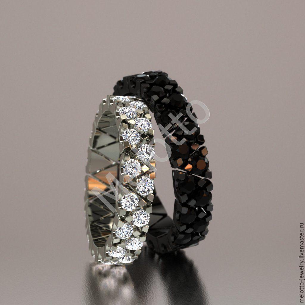 688c02847919 ... белыми бриллиантами. Свадебные украшения ручной работы. Ярмарка  Мастеров - ручная работа. Купить Обручальные кольца с чёрными
