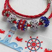 Украшения handmade. Livemaster - original item Bracelet-transformer chalker Pandora red blue striped new. Handmade.