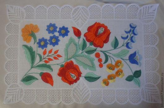 """Текстиль, ковры ручной работы. Ярмарка Мастеров - ручная работа. Купить Кружевная салфетка """"Цветущая поляна"""". Handmade. Вышивка"""