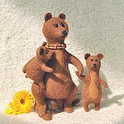 Куклы и игрушки ручной работы. Ярмарка Мастеров - ручная работа игрушка валяная мама Медведица  (Мама и медвежатки). Handmade.