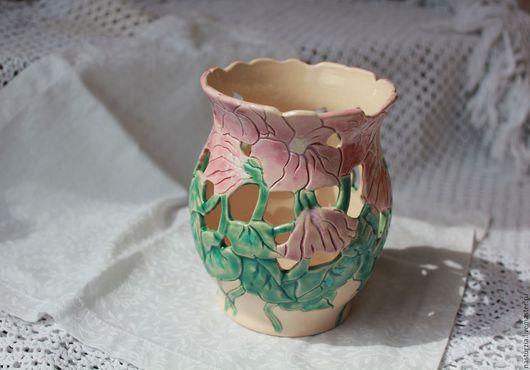Вазы ручной работы. Ярмарка Мастеров - ручная работа. Купить Ваза керамическая Вьюнки. Handmade. Зеленый, белый, Керамика, глина