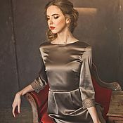 Одежда ручной работы. Ярмарка Мастеров - ручная работа Платье из натурального шелка с кружевной отделко. Handmade.