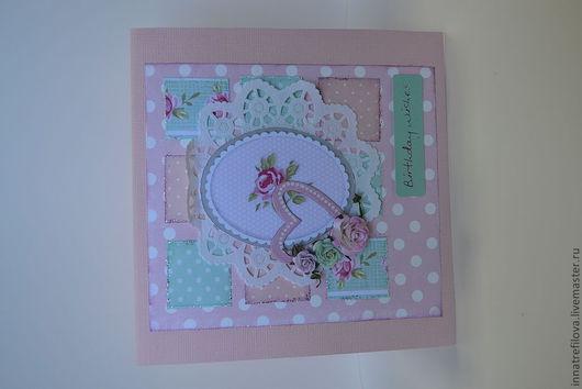 Открытки для женщин, ручной работы. Ярмарка Мастеров - ручная работа. Купить открытка. Handmade. Розовый, цветы бумажные