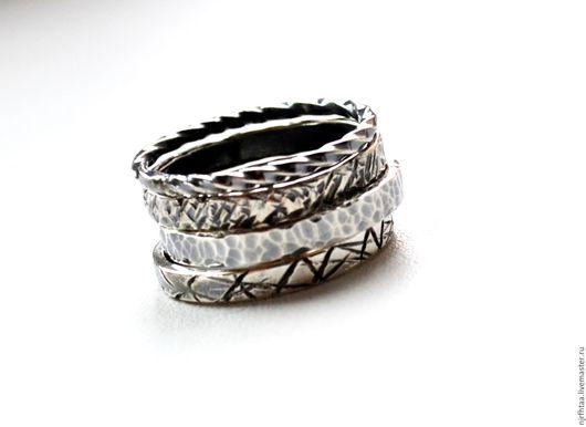 Кольца ручной работы. Ярмарка Мастеров - ручная работа. Купить Серебряные кольца Фактурные. Handmade. Серебряный, купить серебро