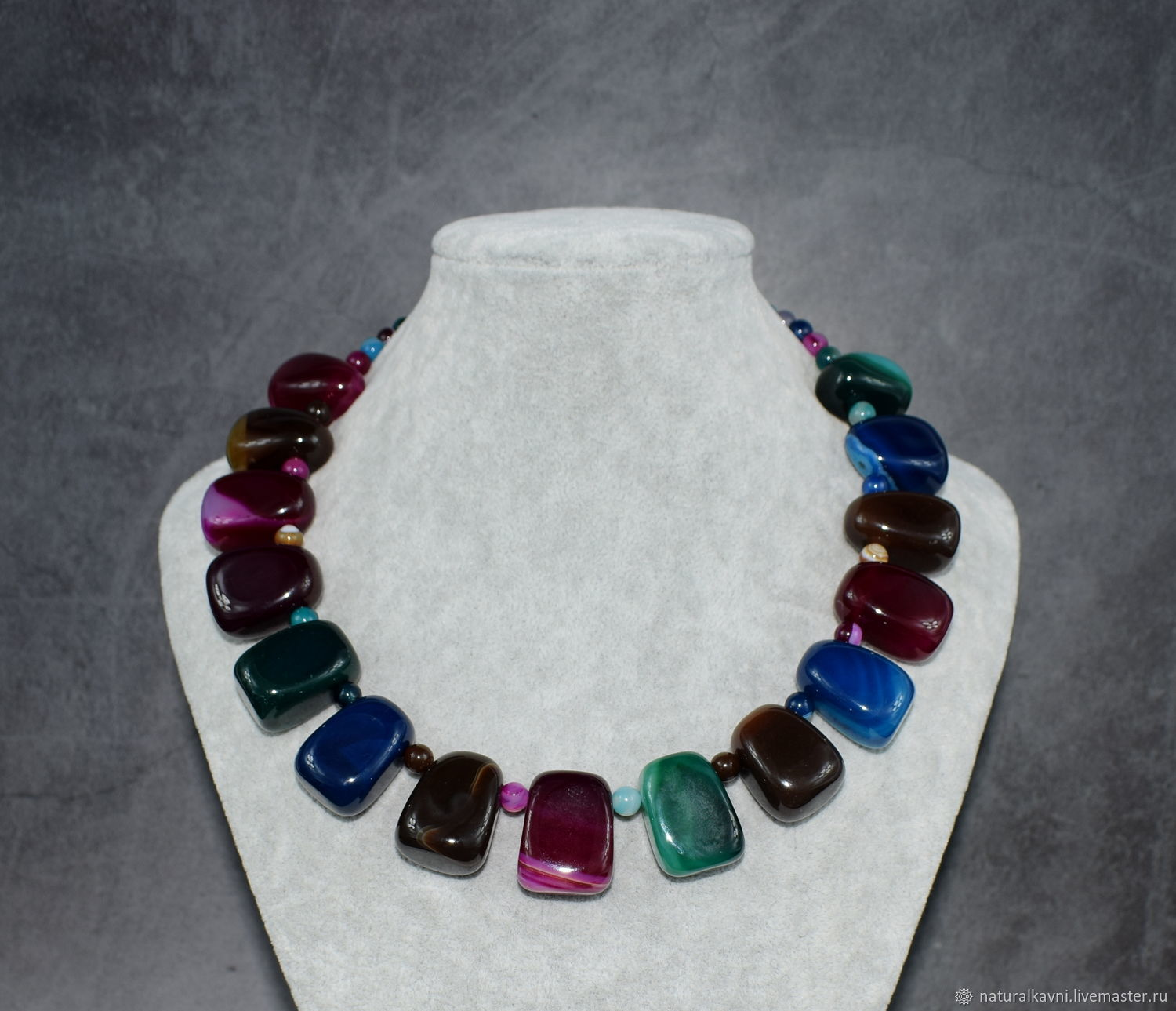 Necklace natural agate multicolored. The author's work, Necklace, Moscow,  Фото №1