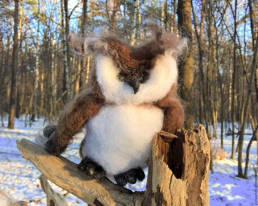 Игрушки животные, ручной работы. Ярмарка Мастеров - ручная работа. Купить Сова в зимнем лесу. Валяная новогодняя игрушка. Handmade.