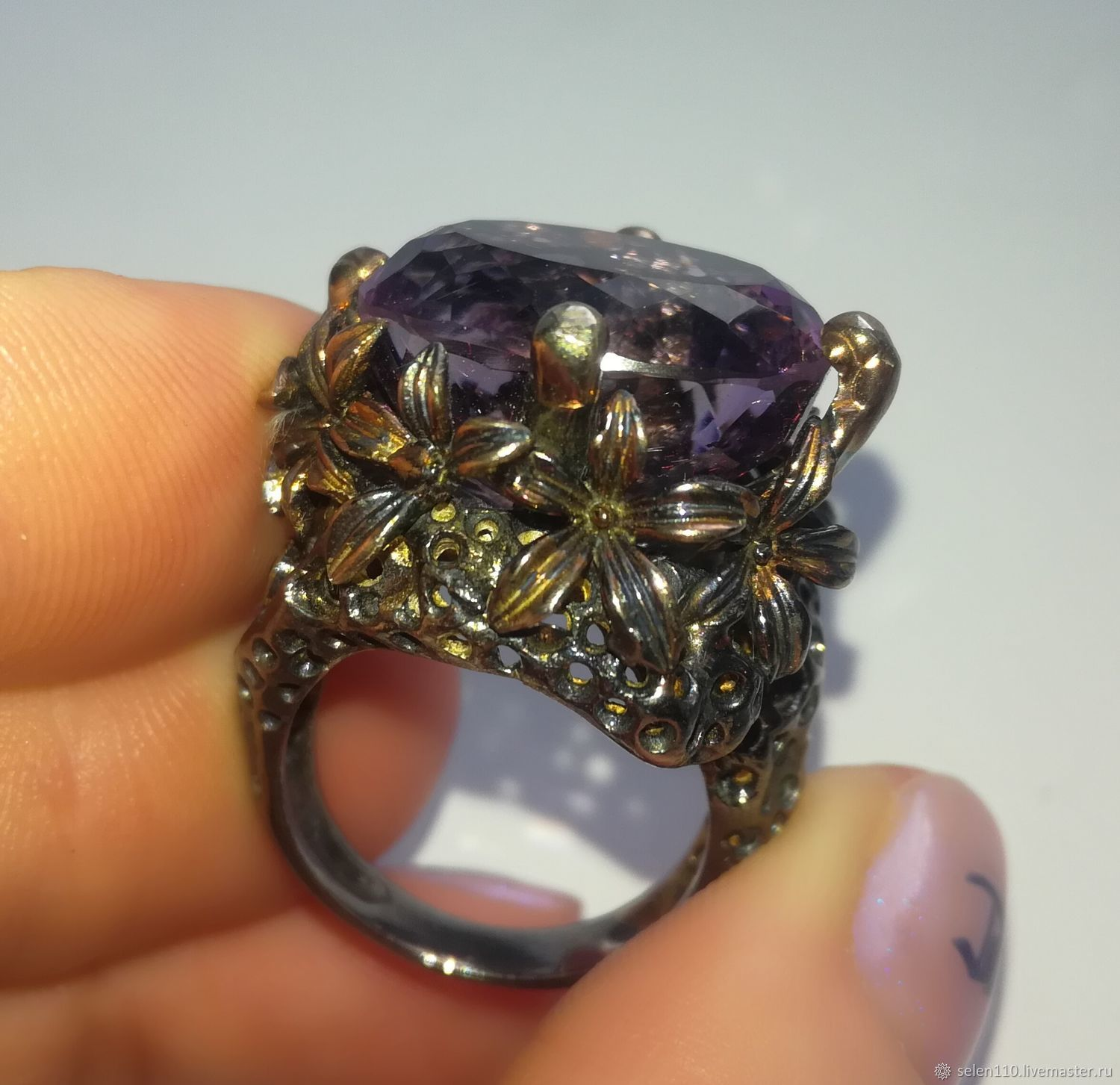 Ring with natural amethyst, Ring, Voronezh,  Фото №1