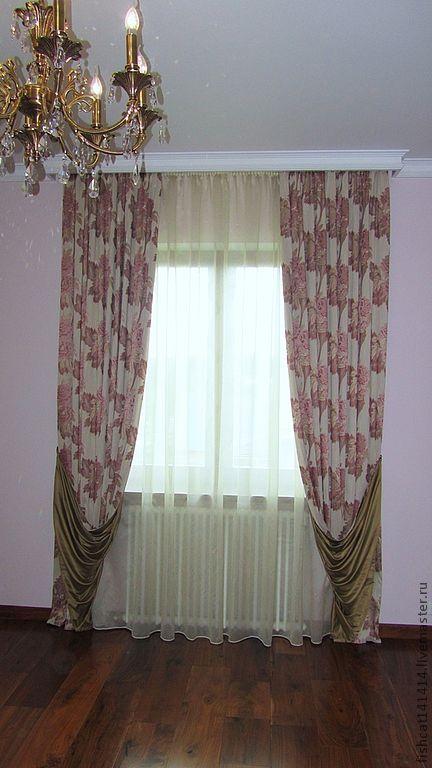 Текстиль, ковры ручной работы. Ярмарка Мастеров - ручная работа. Купить Шторы с цветочным принтом. Handmade. Шторы для спальни, портьера