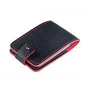 Сумки и аксессуары handmade. Livemaster - original item Business card holder made of black leather with red ends. Handmade.