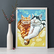 Картины и панно handmade. Livemaster - original item Oil painting the cat and the cat, romance, love. Handmade.