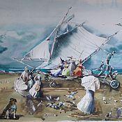 Картины и панно ручной работы. Ярмарка Мастеров - ручная работа Дамы на морской прогулке (2). Handmade.
