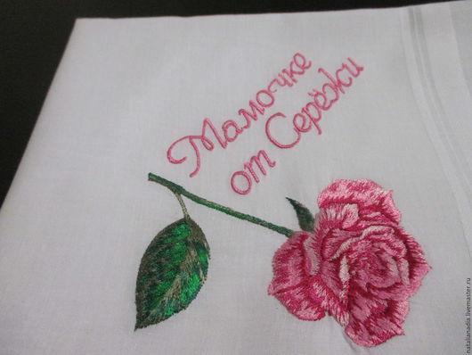 Носовые платочки ручной работы. Ярмарка Мастеров - ручная работа. Купить Носовые платочки с вышивкой женские с цветами. Handmade. Белый