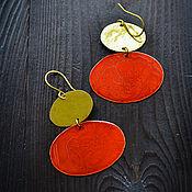 Украшения manualidades. Livemaster - hecho a mano Grandes pendientes Boho Pendientes de latón grandes Oro rojo Oval. Handmade.