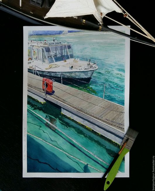 Пейзаж ручной работы. Ярмарка Мастеров - ручная работа. Купить Река Сена, Париж. Handmade. Море, дизайн интерьера