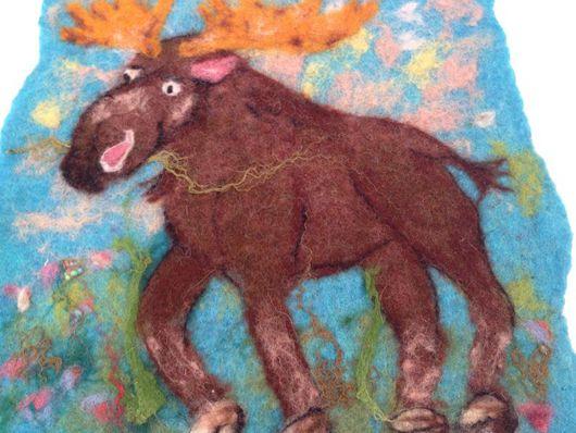Животные ручной работы. Ярмарка Мастеров - ручная работа. Купить Валяная картина для детской Лосик. Handmade. Картина, лосик