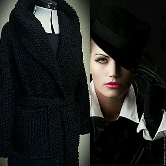 Верхняя одежда ручной работы. Ярмарка Мастеров - ручная работа. Купить Пальто вязаное Незнакомка с капюшоном длинное в пол. Handmade.