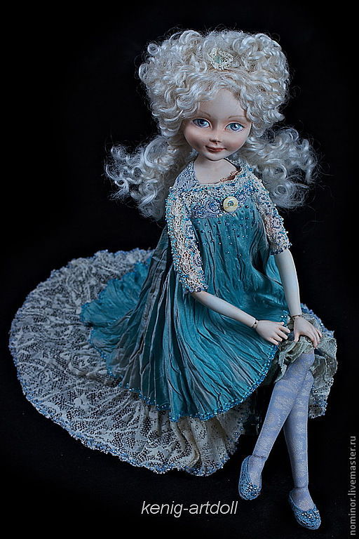 Коллекционные куклы ручной работы. Ярмарка Мастеров - ручная работа. Купить Симона. шарнирная кукла. Handmade. Бирюзовый, янтарь
