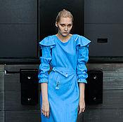 Платья ручной работы. Ярмарка Мастеров - ручная работа Голубое платье из льна. Handmade.