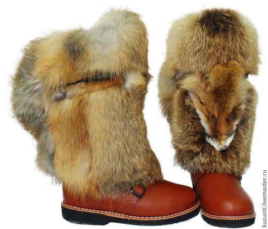 """Обувь ручной работы. Ярмарка Мастеров - ручная работа. Купить Унты """"Лиса"""". Handmade. Оранжевый, унты из лисы, Унты"""