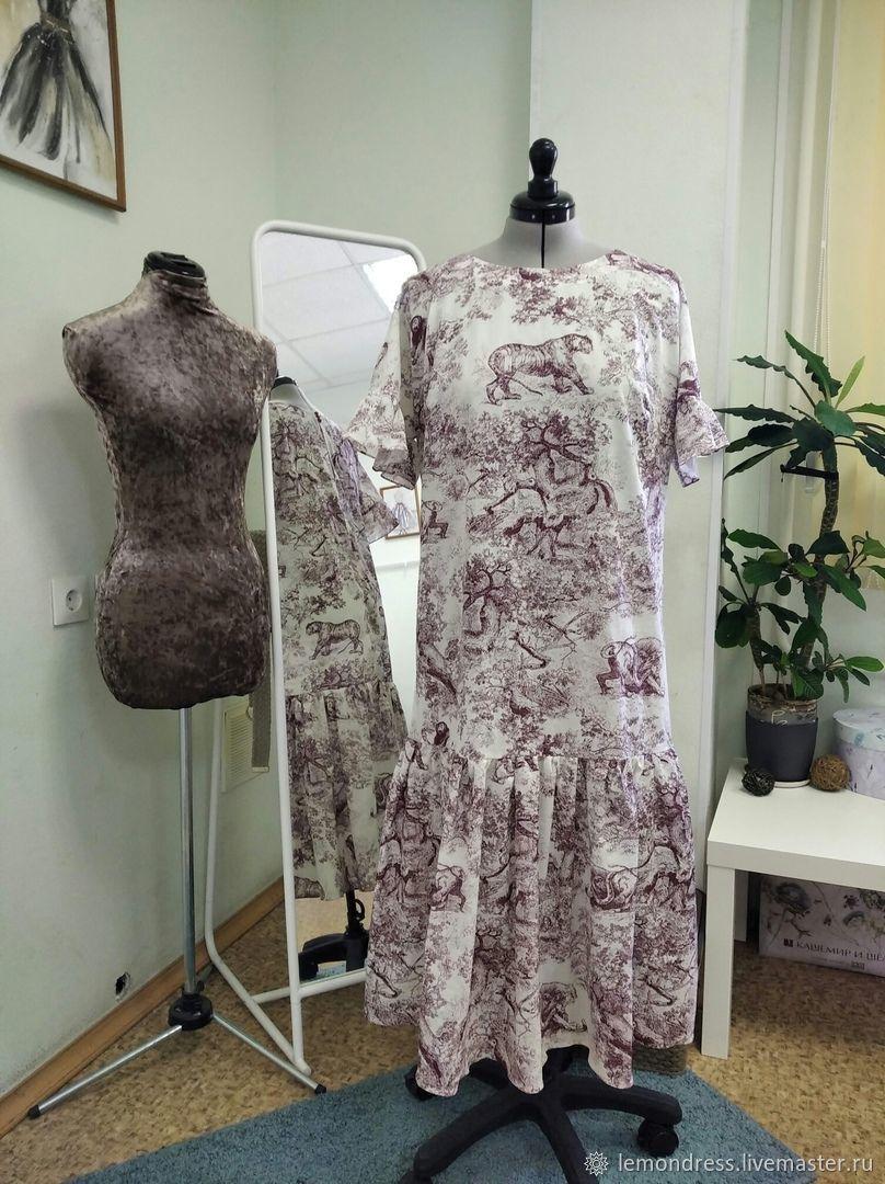 Платье  а-силуэта, с воланом. Ткань в стиле Диор, Платья, Санкт-Петербург,  Фото №1