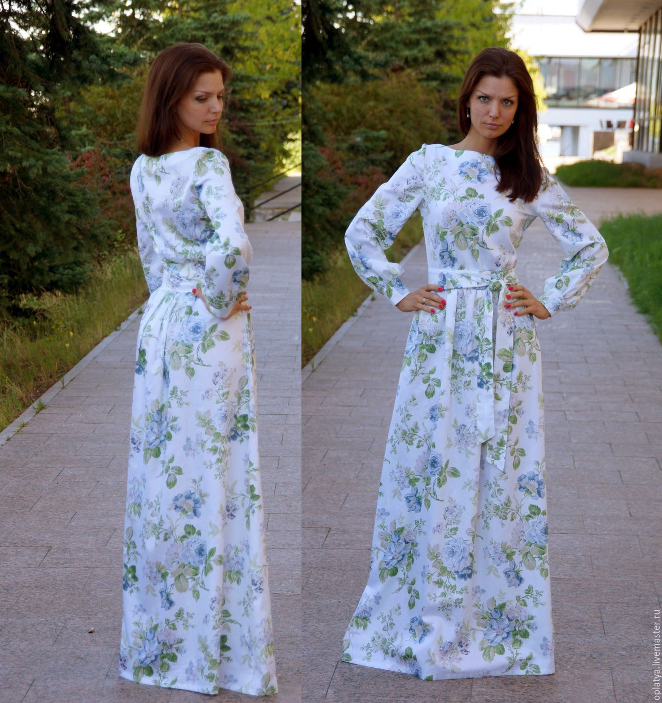 Летнее длинное платье с рукавами фото