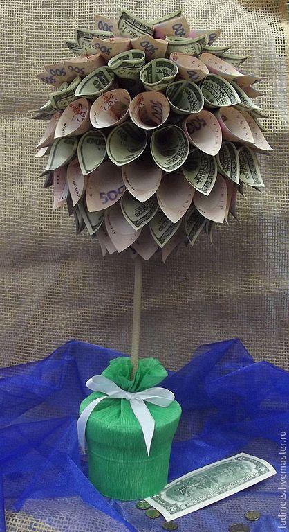 """Фен-шуй ручной работы. Ярмарка Мастеров - ручная работа. Купить Топиарий, денежное дерево """"Достаток"""". Handmade. Зеленый"""