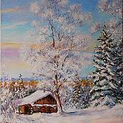 """Картины и панно ручной работы. Ярмарка Мастеров - ручная работа Пейзаж маслом """"Зимнее утро"""". Handmade."""