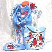 """Аксессуары ручной работы. Ярмарка Мастеров - ручная работа валяный комплект """"Снегири"""". Handmade."""