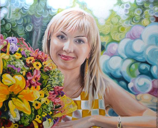 Люди, ручной работы. Ярмарка Мастеров - ручная работа. Купить Весенний портрет. Handmade. Желтый, масляная живопись, портрет, масло