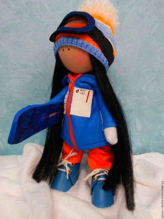 Коллекционные куклы ручной работы. Ярмарка Мастеров - ручная работа. Купить Текстильная кукла Сноубордистка. Handmade. Синий, сноубордист