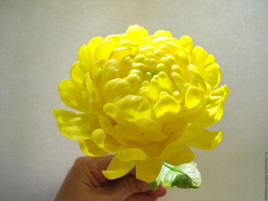 Интерьерные композиции ручной работы. Ярмарка Мастеров - ручная работа. Купить Хризантема. Handmade. Желтый, цветы из полимерной глины