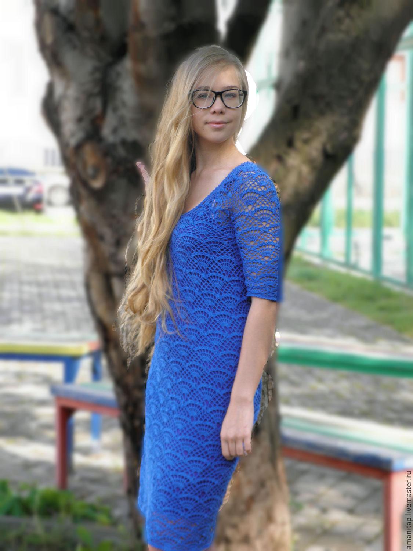 Blue dress crochet sleeve urban style, Dresses, Permian,  Фото №1