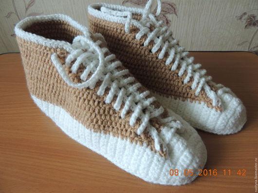 Обувь ручной работы. Ярмарка Мастеров - ручная работа. Купить Кеды крючком. Handmade. Бежевый, кеды крючком