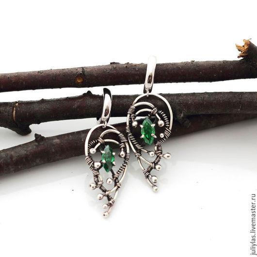 Серебряные серьги с зеленым фианитом, серебряные серьги  украшение из серебра, украшение купить, ручная работа, для женщин, Лазовская Юлия