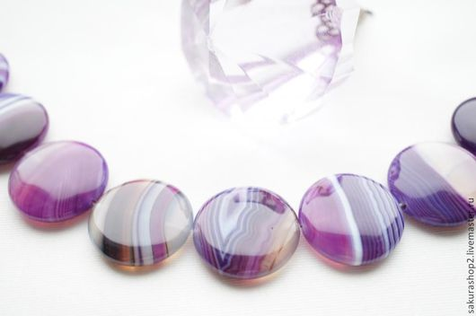 Для украшений ручной работы. Ярмарка Мастеров - ручная работа. Купить Агат диск фиолетовый 30мм. Handmade. Фиолетовый, агат