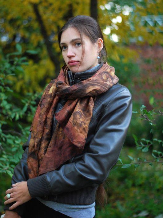 """Шарфы и шарфики ручной работы. Ярмарка Мастеров - ручная работа. Купить Шарф шелковый """"Осенний лес"""" эко принт коричневый красный бохо. Handmade."""