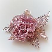 Украшения handmade. Livemaster - original item GRACE rose.  GRACE brooch-rose. Lilac-powdery. Handmade.