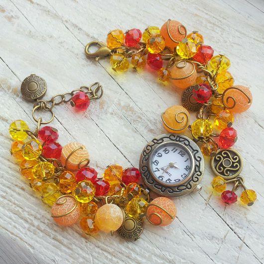 """Часы ручной работы. Ярмарка Мастеров - ручная работа. Купить Часы ручной работы """"Пламя"""". Handmade. Рыжий, часы наручные"""