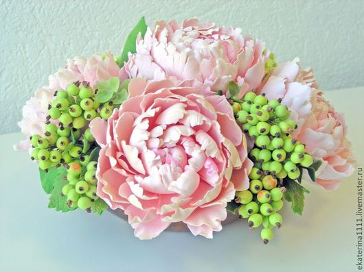 """Интерьерные композиции ручной работы. Ярмарка Мастеров - ручная работа. Купить Пионы """"Нежность"""". Handmade. Пион, цветы"""