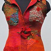 """Одежда ручной работы. Ярмарка Мастеров - ручная работа нуновойлочный жилет""""Лето .Маки """". Handmade."""