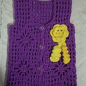 Работы для детей, ручной работы. Ярмарка Мастеров - ручная работа Фиолетовый жилет для девочки 2-х лет.. Handmade.