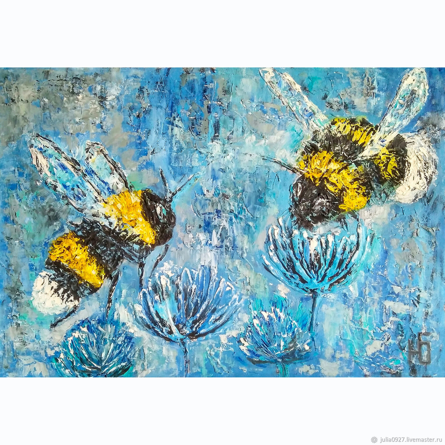 Textured interior oil painting Winter bumblebees, Pictures, Ekaterinburg,  Фото №1