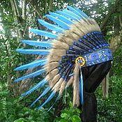 Одежда handmade. Livemaster - original item Blue Indian Headdress, Native American Warbonnet. Handmade.