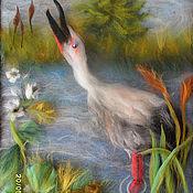 Картины и панно ручной работы. Ярмарка Мастеров - ручная работа Аист на болоте. Handmade.