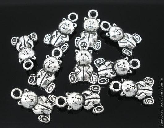 Мишка Тедди 16х10 мм, цвет античное серебро, подвеска металлическая 3D - 25.00